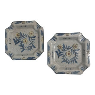 Large Square Stoneware Ceramic Cigar Ashtrays - a Pair