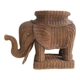 Vintage 1980s Brown Wicker Elephant Garden Stool