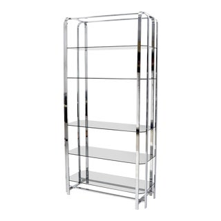 Crome and Smoked Bronze Glass Shelves Tall Display Étagère Vitrine For Sale