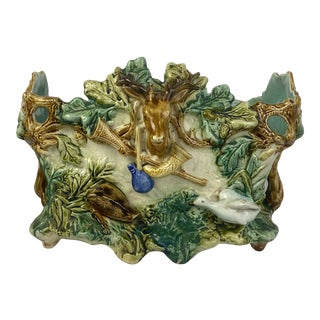 French Majolica Jardiniere With Stag For Sale