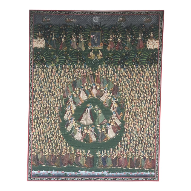 """19th C. East Indian """"Pichwai"""" Painted Textile of Krishna For Sale"""