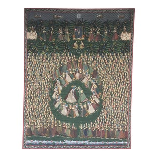 Massive Painted Silk Pichwai Tapestry Krishna Radha Circle Dance For Sale