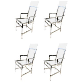 Set of Four Polish Nickel and Acrylic Dining Chairs by Charles Hollis Jones For Sale