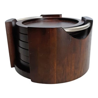 20th Century Modern Dark Wood Coasters in Caddy - 7 Pieces For Sale
