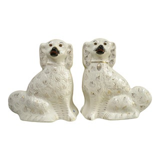 Staffordshire Ceramic Dog Figurines - a Pair For Sale