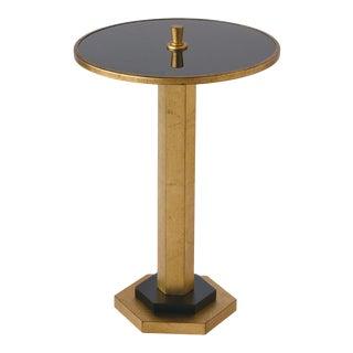 Art-Deco Madcap Cottage Gold-Leaf Columnar Drinks Table For Sale