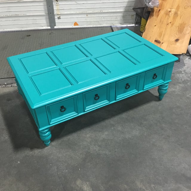 Custom Turquoise Cocktail Table by Bassett - Image 2 of 5