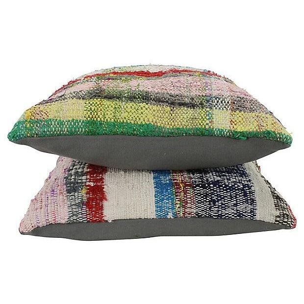 Turkish Kilim Striped Throw Pillows - a Pair - Image 4 of 4