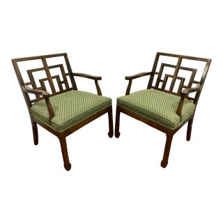 MCM Walnut Chippendale Interpretation Chairs a Pair For Sale