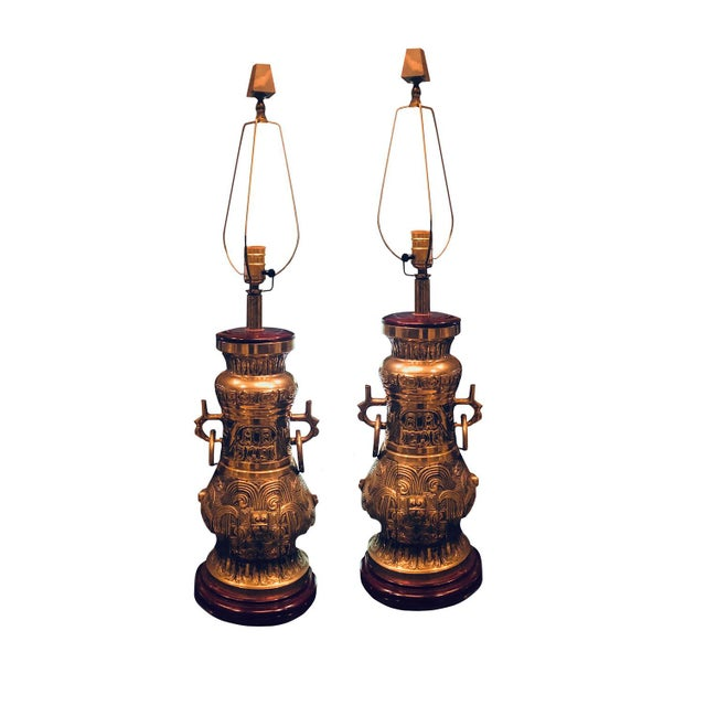 Brass Mid Century Brass Lamps - a Pair For Sale - Image 8 of 8