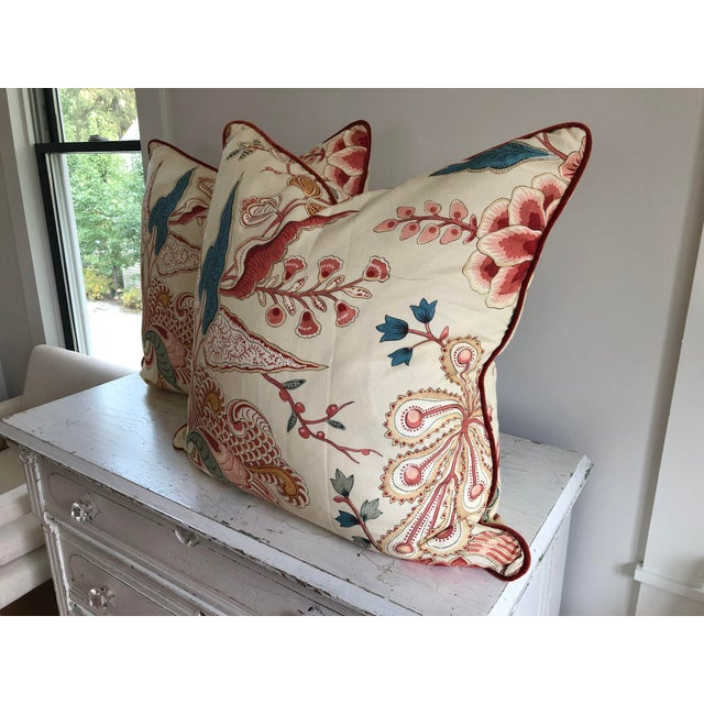 Jacobean Clarence House Floral Euro Pillows - a Pair For Sale In Indianapolis - Image 6 of 7
