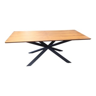 Industrial Dining Table With Metal Architectural X-Base For Sale
