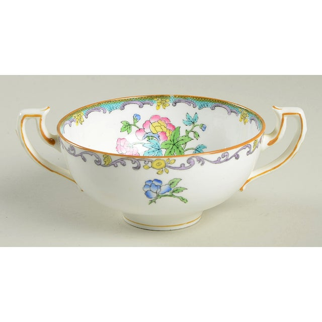 Ceramic Minton Double Handled Footed Bowl and Saucer - Set of 6 For Sale - Image 7 of 13