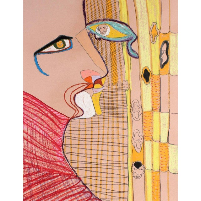 Abstract Michael DI Cosola Surrealist Portrait in Yellow Oil Pastel Painting on Paper, Circa 1970s For Sale - Image 3 of 3