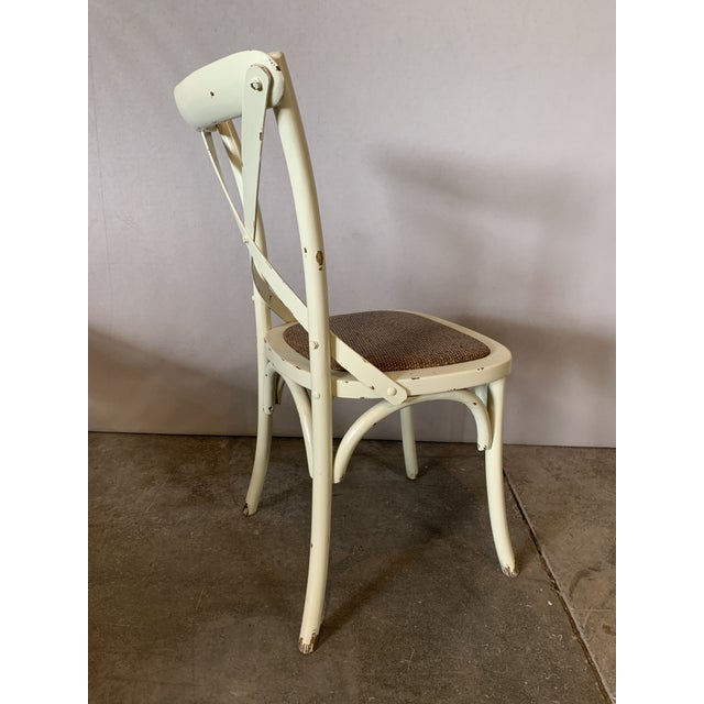 Rustic Country Cross Back Braided Seat Chair For Sale - Image 3 of 5