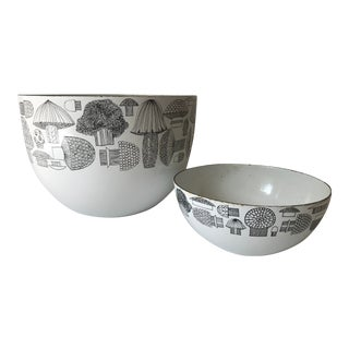 Set of 2 - Kaj Frank White Mushroom Bowls For Sale