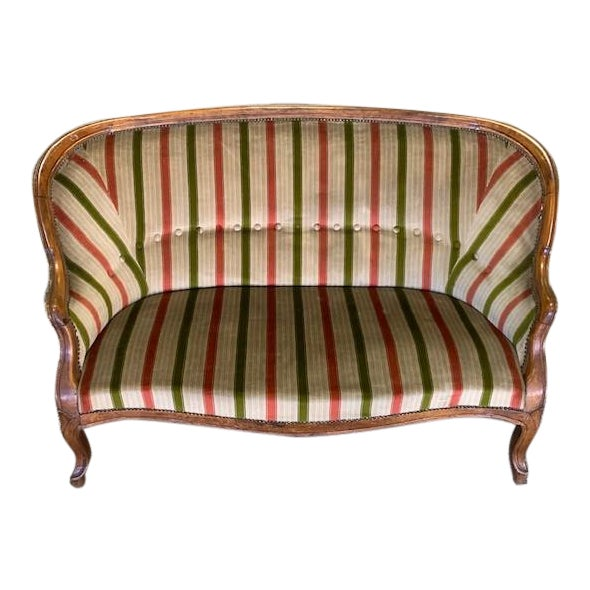 19th Century Vintage Louis Philippe Walnut Settee For Sale