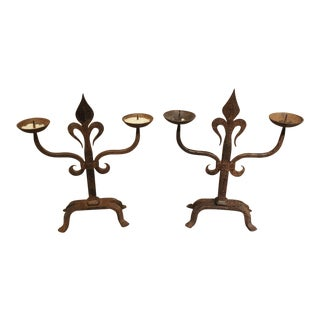 Pair of French Fleur De Lys Forged Iron Candelabras - a Pair For Sale