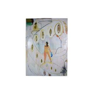 "Sculptural Surrealist ""Let us Entertain You"" Nude Woman Acrylic Painting For Sale"