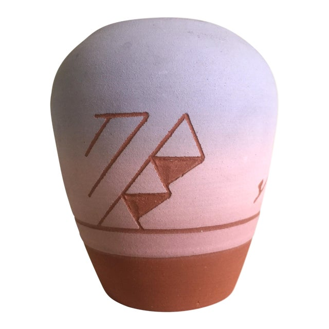 Vintage Native American Sioux Havel Marie Signed Pink Purple Ombre Terra Cotta Vase - Image 1 of 11