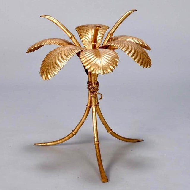 1960s Italian Gilt Metal Palm Leaf Side Table with Smoked Glass Top For Sale - Image 5 of 7