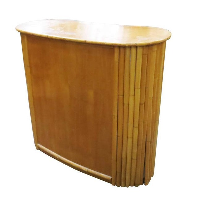 Restored Rattan Bar with Mahogany Veneer Front and Top - Image 3 of 7