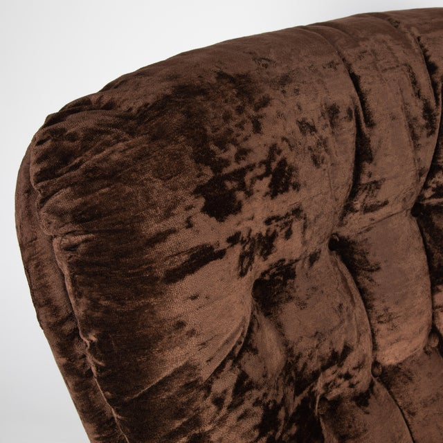 Textile 1970's Vintage Selig Brown Lounge Chair & Ottoman For Sale - Image 7 of 13