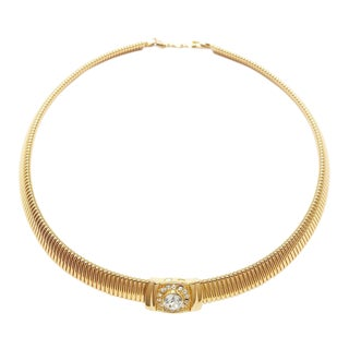 Couture Gold Tone Necklace With Crystal Center by Christian Dior For Sale