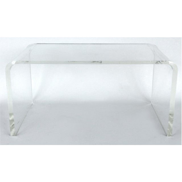 """Custom Lucite waterfall table or bench with curved sides Offered for sale is a Mid-Century Modern style 3/4"""" thick..."""