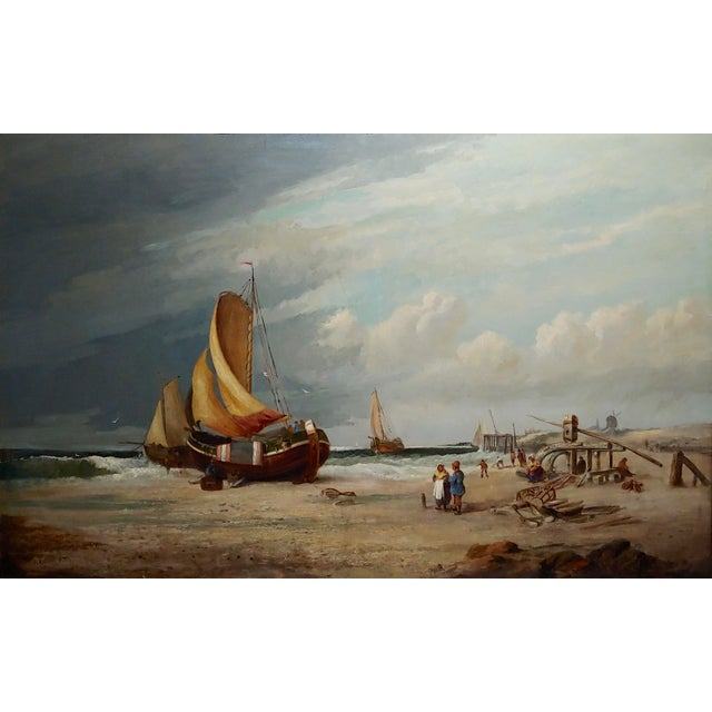 "American 19th Century ""Fishing Boats"" Large Oil Painting by C.H. Cook, 1878 For Sale - Image 3 of 12"