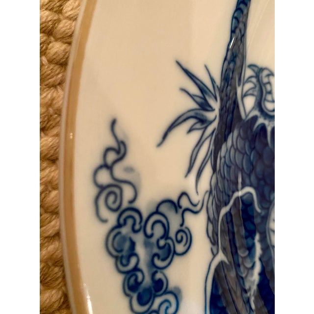 Asian Vintage Mottahedeh Blue Dragon Round Platter/Chop Plate For Sale - Image 3 of 7