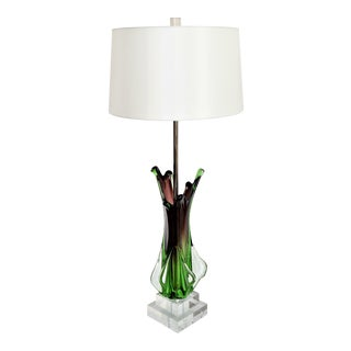 Antique Monumental Murano Glass Burgandy and Green Table Lamp with Lucite Base
