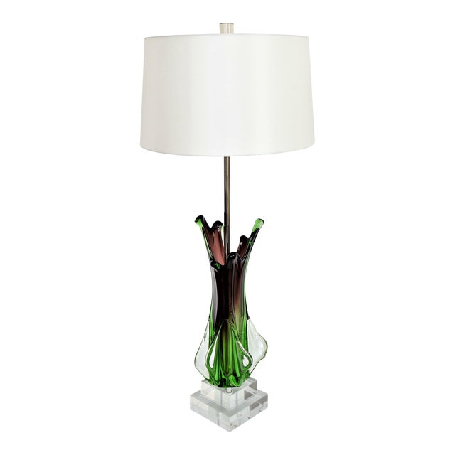 Antique Monumental Murano Glass Burgandy and Green Table Lamp With Lucite Base--Italy Italian Venetian Mid Century Modern Hollywood Regency - Image 1 of 10