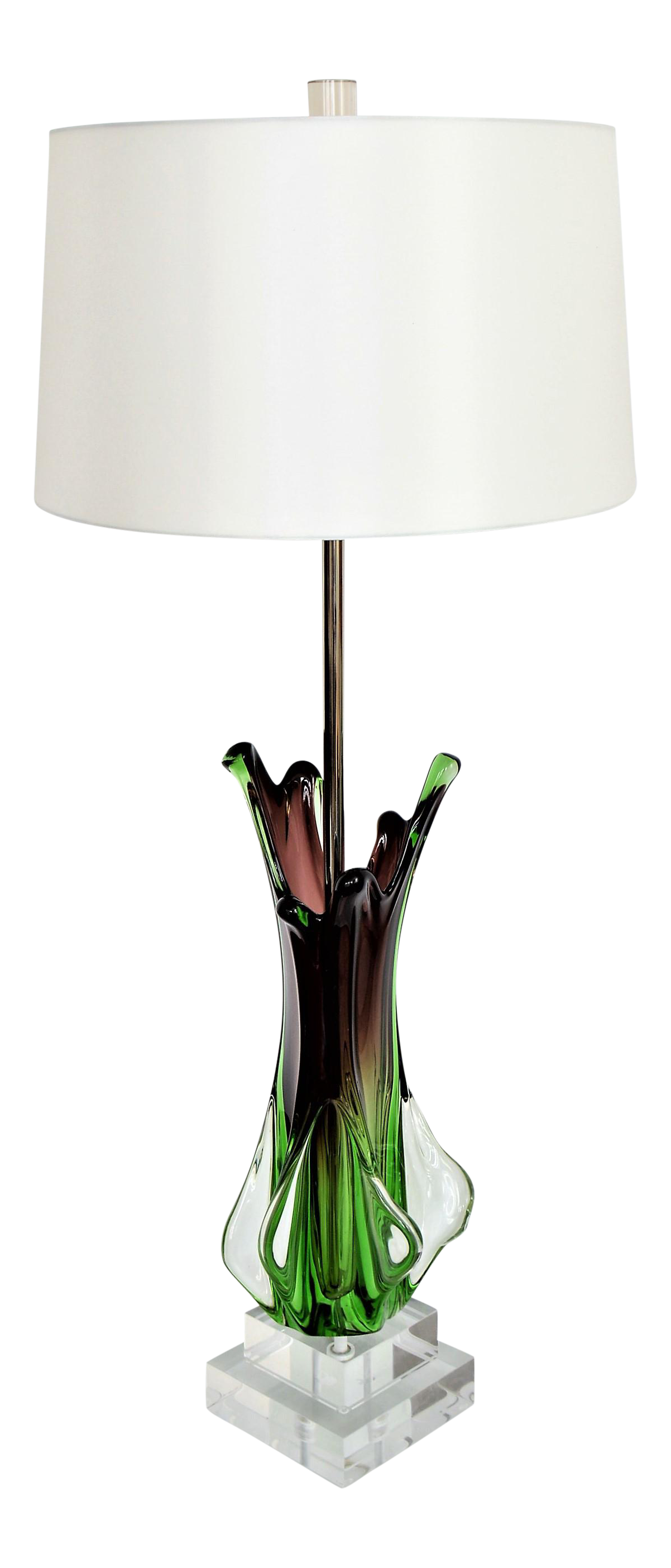 Antique Monumental Murano Glass Burgandy And Green Table Lamp With Lucite  Base  Italy Italian