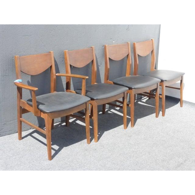 Vintage Mid Century Modern Black Vinyl Dining Room Chairs ...