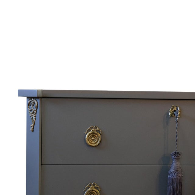 Gray Gustavian Louis XV Style Chests - a Pair For Sale - Image 8 of 9