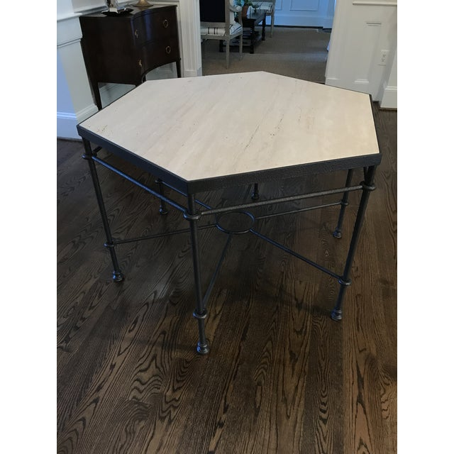 Tan Modern Giacometti Style Hexagonal Center Table For Sale - Image 8 of 9