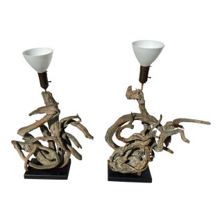 Pair of Oversized Driftwood Lamps From 1960's For Sale