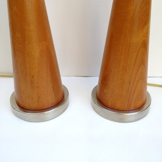 Mid-Century Modern Wood Cone Lamps- A Pair - Image 3 of 3