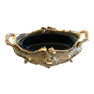 French Baroque Rococo Style Brass Jardiniere Planter For Sale