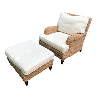 Ralph Lauren Style Seagrass Club Chair and Ottoman For Sale