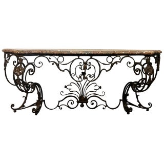 19th Century French Baroque Style Wrought Iron Wall Console Table For Sale
