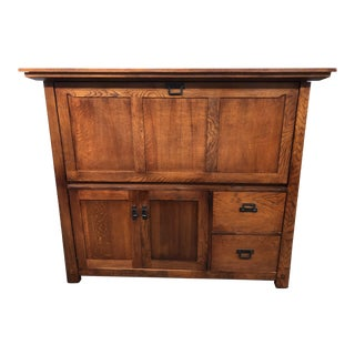 Mission Style Drop Front Secretary For Sale