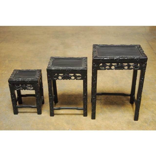 Chinese Ebonized Nesting Tables - Set of 3 For Sale - Image 4 of 4