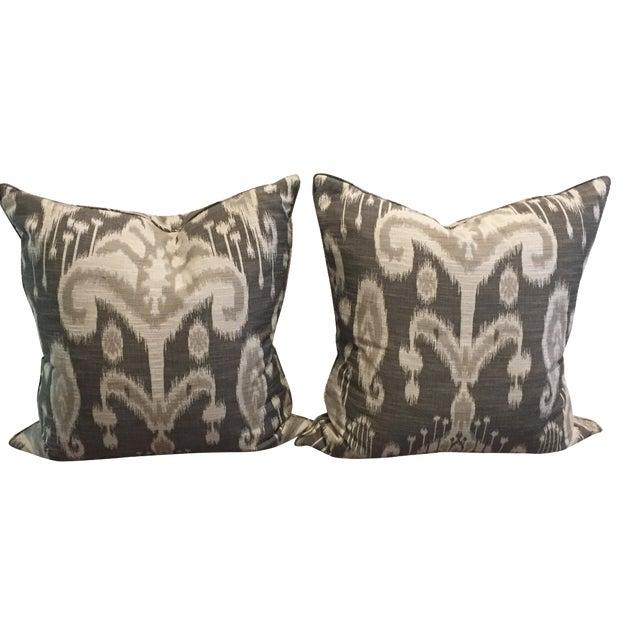 Crate & Barrel Gray Linen Ikat Pillows - A Pair For Sale