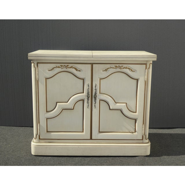French Country Thomasville French Country White & Gold Server For Sale - Image 3 of 11