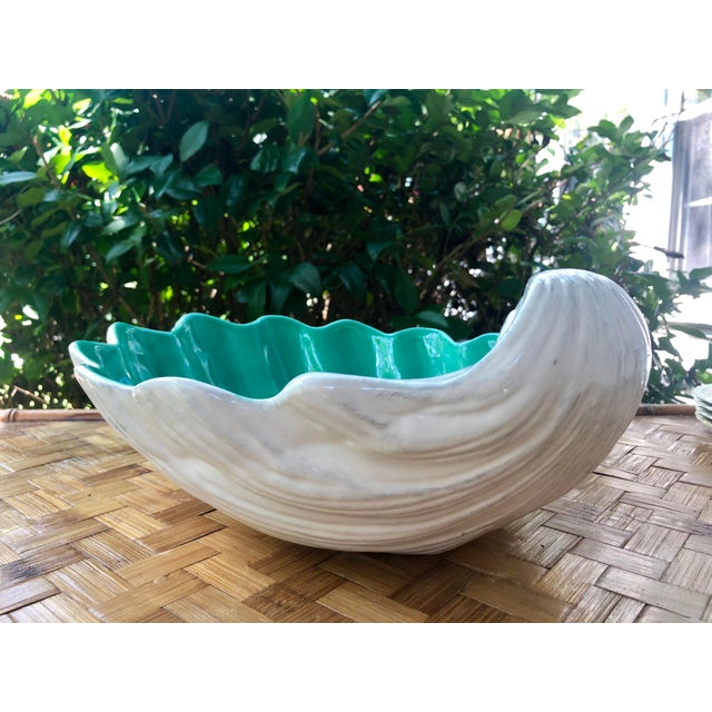 Large Portuguese Ceramic White Shell Planter Catchall Bowl For Sale In Charleston - Image 6 of 11