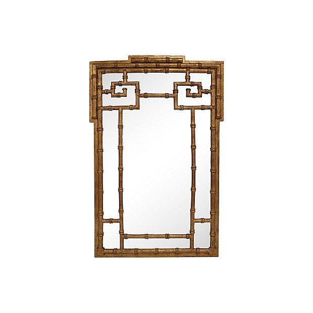 La Barge Gold-Leaf Faux Bamboo Wall Mirror For Sale - Image 5 of 5