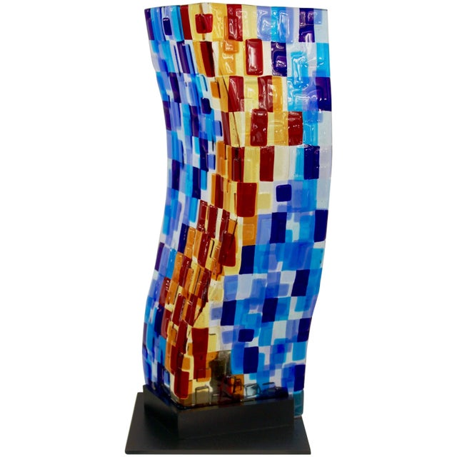 Contemporary Italian Aqua Blue Red Yellow Murano Glass Mosaic Sculptural Lamp For Sale - Image 11 of 11