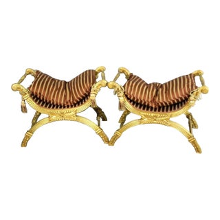 Neoclassical Style Champaign Stools - A Pair For Sale